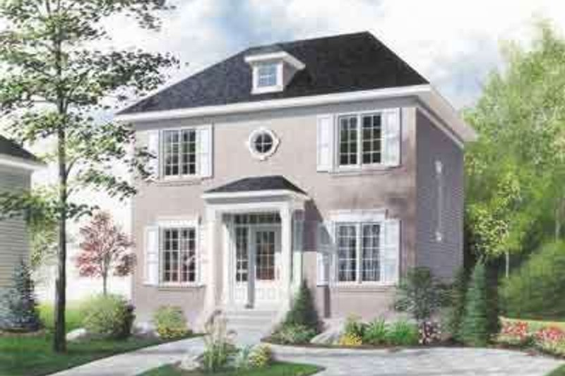Colonial Style House Plan - 3 Beds 2 Baths 1422 Sq/Ft Plan #23-256 Exterior - Front Elevation