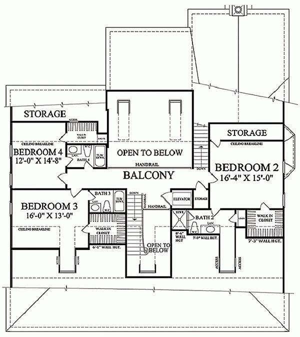 Colonial Floor Plan - Upper Floor Plan Plan #137-101
