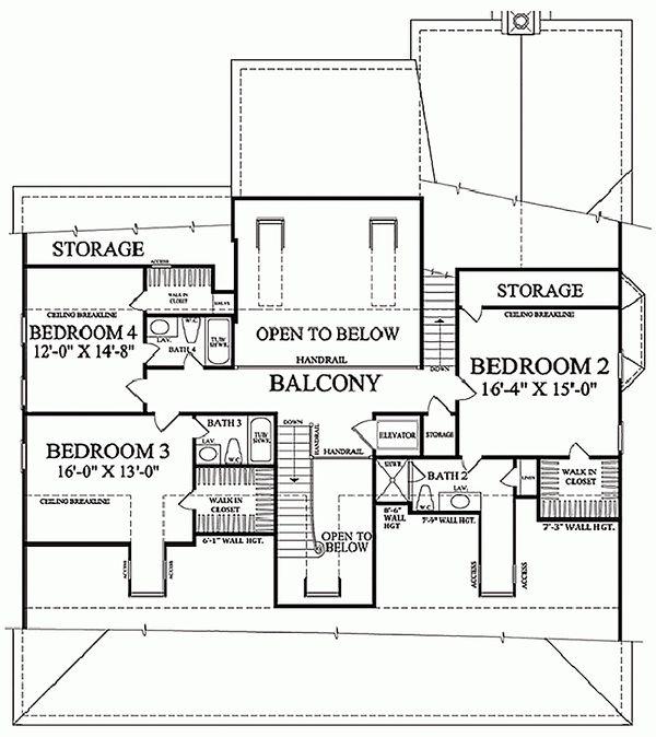 Architectural House Design - Colonial Floor Plan - Upper Floor Plan #137-101