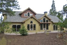 Craftsman style home design, rear elevation photo