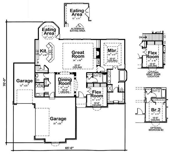 European Floor Plan - Main Floor Plan Plan #20-2061