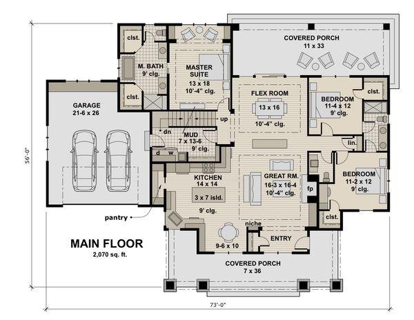 Craftsman Floor Plan - Main Floor Plan Plan #51-586