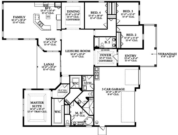 Ranch Floor Plan - Main Floor Plan Plan #1058-168
