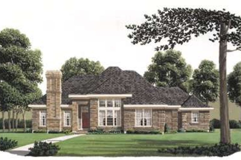 European Style House Plan - 4 Beds 3 Baths 2885 Sq/Ft Plan #410-184 Exterior - Front Elevation