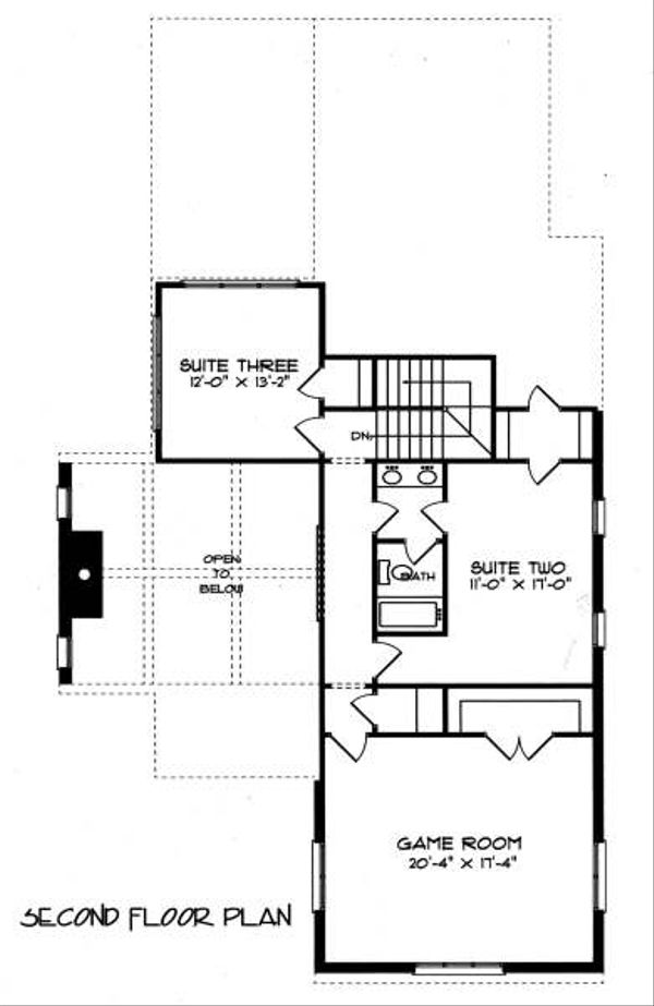 Tudor Floor Plan - Upper Floor Plan Plan #413-137