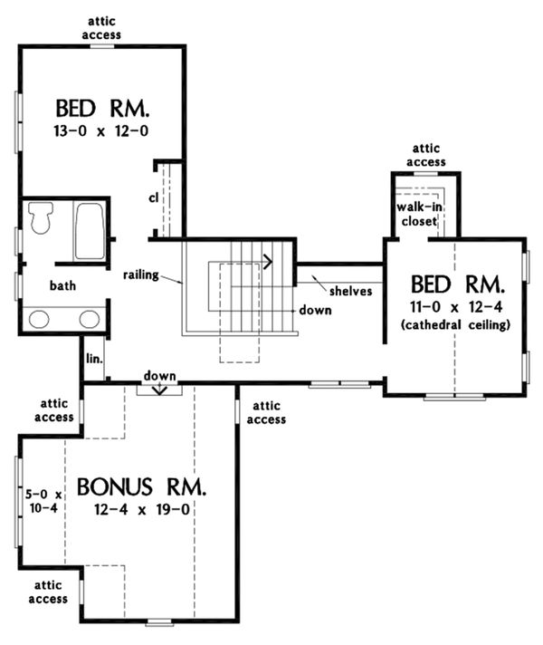 Cottage Floor Plan - Upper Floor Plan #929-1108