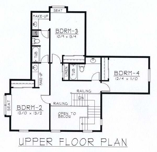 Craftsman Floor Plan - Upper Floor Plan #112-146