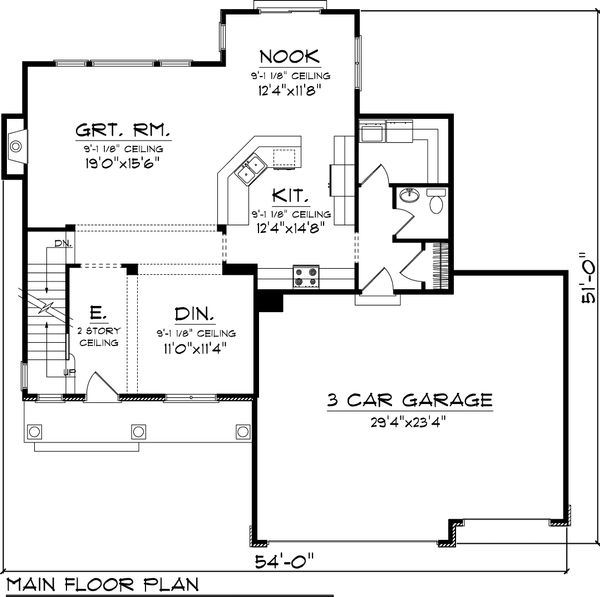 Traditional Floor Plan - Main Floor Plan Plan #70-1053