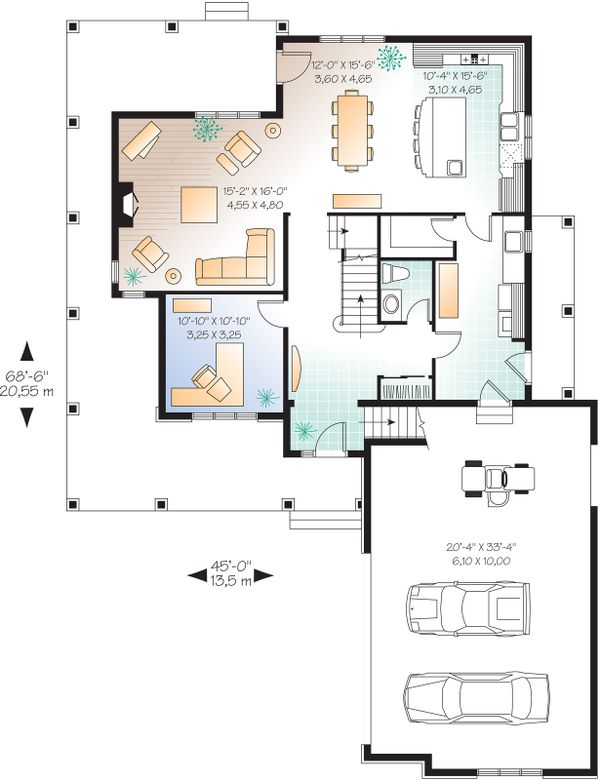 Farmhouse Floor Plan - Main Floor Plan Plan #23-587