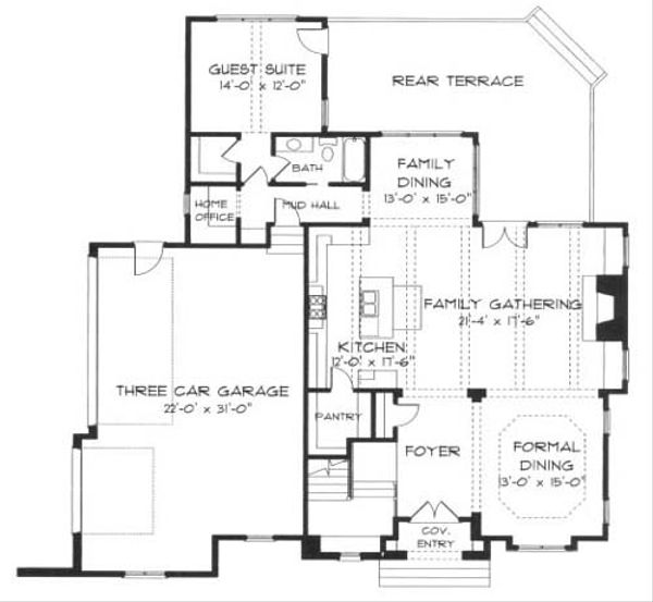 European Floor Plan - Main Floor Plan Plan #413-108
