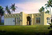 Adobe / Southwestern Style House Plan - 3 Beds 2 Baths 1600 Sq/Ft Plan #1-1304 Exterior - Front Elevation