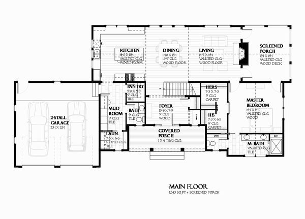 House Plan Design - Ranch Floor Plan - Main Floor Plan #901-128