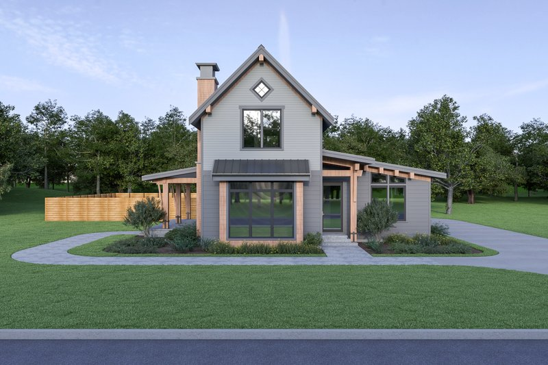 Contemporary Style House Plan - 3 Beds 2.5 Baths 1954 Sq/Ft Plan #1070-80 Exterior - Front Elevation