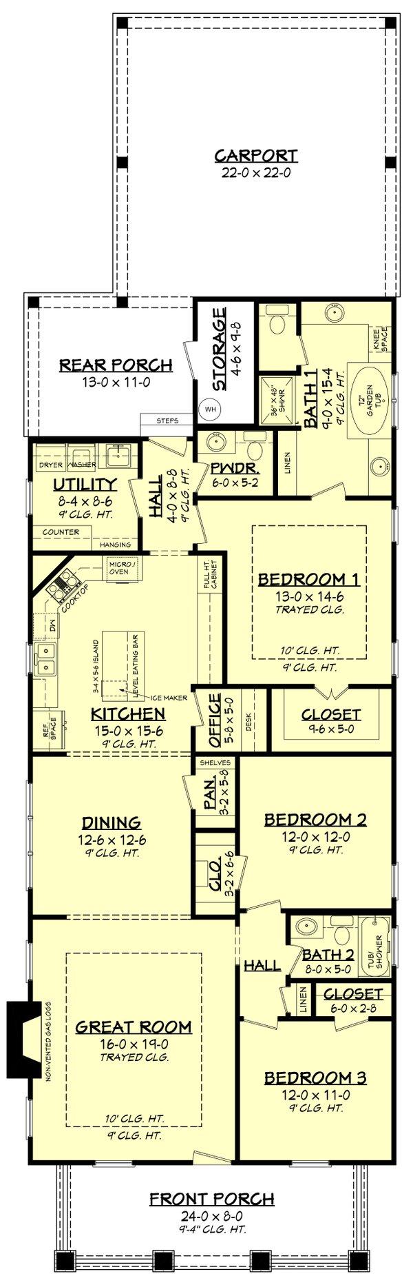 Craftsman Floor Plan - Main Floor Plan #430-79