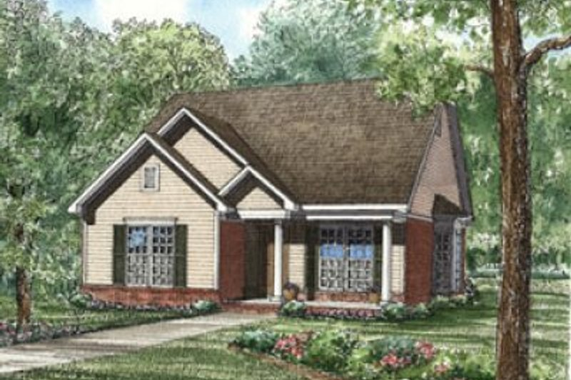 Traditional Style House Plan - 3 Beds 2 Baths 1265 Sq/Ft Plan #17-127 Exterior - Front Elevation