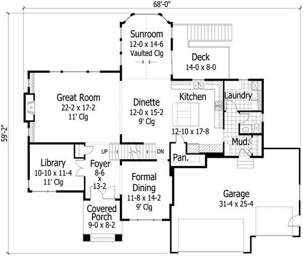 Traditional Floor Plan - Main Floor Plan #51-470