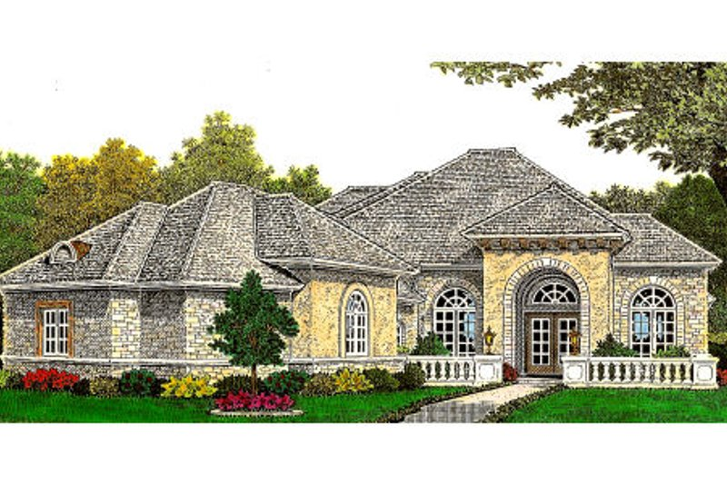 European Style House Plan - 3 Beds 2.5 Baths 2685 Sq/Ft Plan #310-660 Exterior - Front Elevation