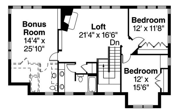 Craftsman Floor Plan - Upper Floor Plan Plan #124-880