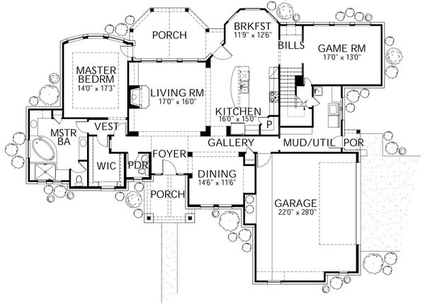 Country Floor Plan - Main Floor Plan Plan #80-180