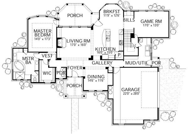 House Plan Design - Country Floor Plan - Main Floor Plan #80-180