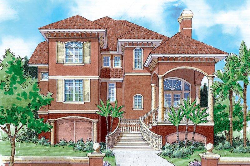 Architectural House Design - Mediterranean Exterior - Front Elevation Plan #930-127