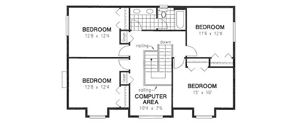 Country Floor Plan - Upper Floor Plan Plan #18-4460