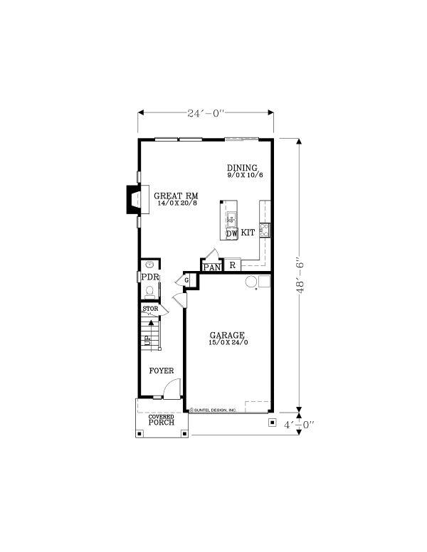 Craftsman Floor Plan - Main Floor Plan #53-652