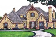 European Style House Plan - 4 Beds 3.5 Baths 3296 Sq/Ft Plan #310-560 Exterior - Front Elevation