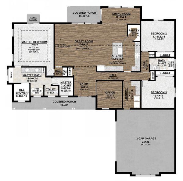 Architectural House Design - Farmhouse Floor Plan - Main Floor Plan #1077-3