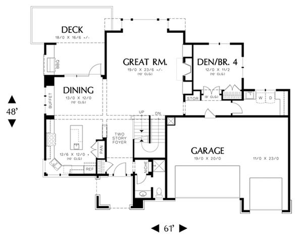 Prairie Floor Plan - Main Floor Plan Plan #48-464