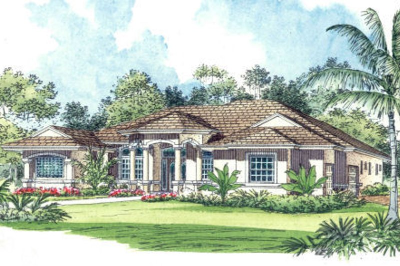 Mediterranean Style House Plan - 4 Beds 3.5 Baths 3442 Sq/Ft Plan #420-217 Exterior - Front Elevation