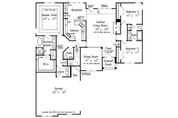 European Floor Plan - Main Floor Plan Plan #927-30