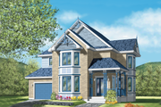 Victorian Style House Plan - 4 Beds 2.5 Baths 2479 Sq/Ft Plan #25-2197 Exterior - Front Elevation