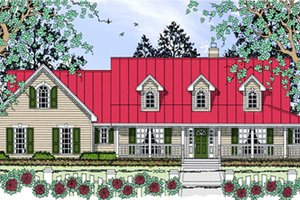 Country Exterior - Front Elevation Plan #42-409