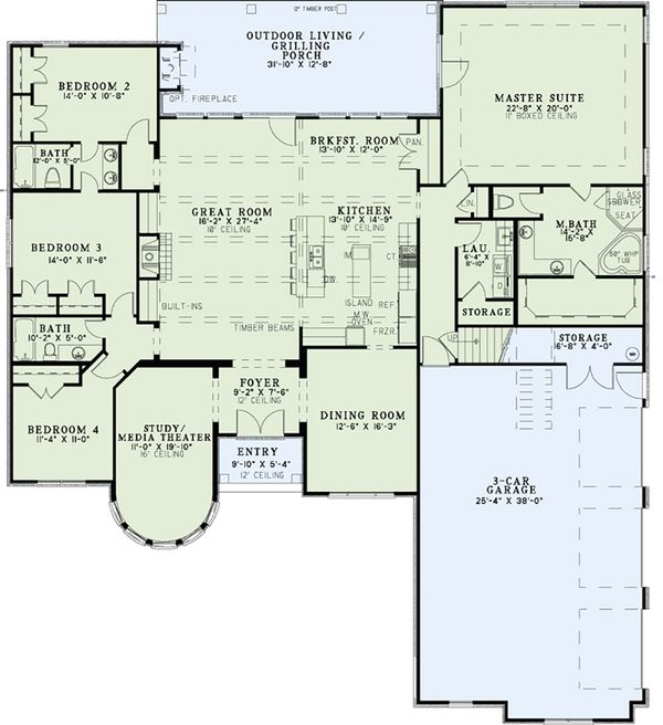Dream House Plan - European Floor Plan - Main Floor Plan #17-2561