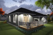 Ranch Style House Plan - 2 Beds 2 Baths 1360 Sq/Ft Plan #70-1235 Exterior - Rear Elevation