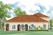 Mediterranean Style House Plan - 5 Beds 5.5 Baths 4556 Sq/Ft Plan #930-427 Exterior - Rear Elevation