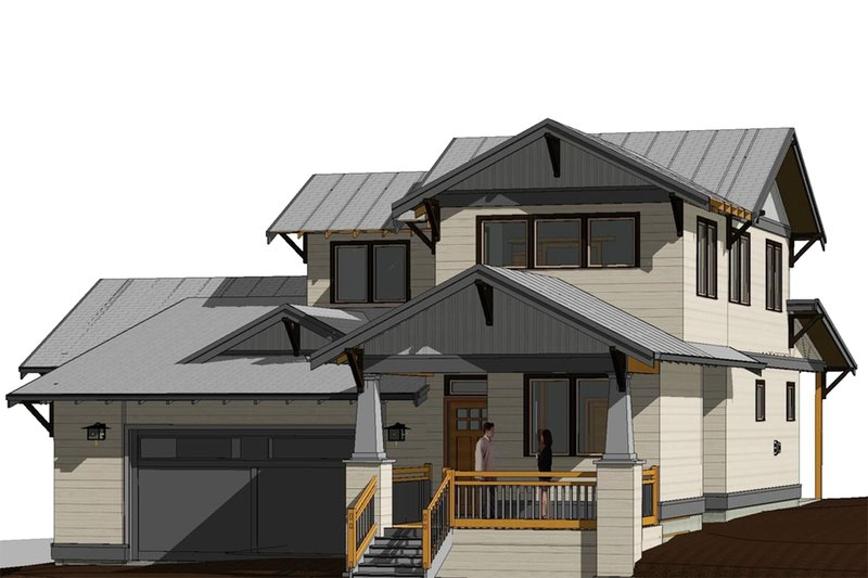 Craftsman Style House Plan - 4 Beds 2.5 Baths 2368 Sq/Ft Plan #895-100 Exterior - Front Elevation