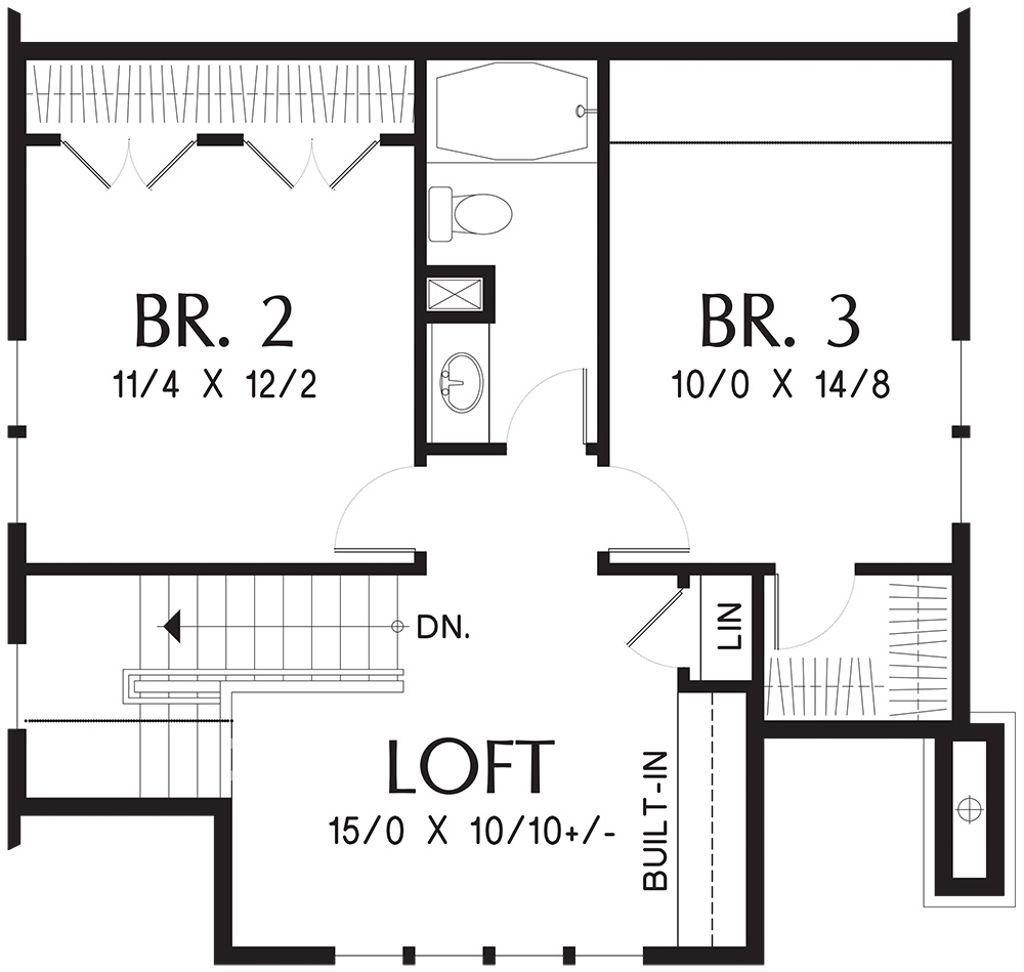Floor Plan With Front Great Room Kitchen  Bedrooms Bathroom And Loft