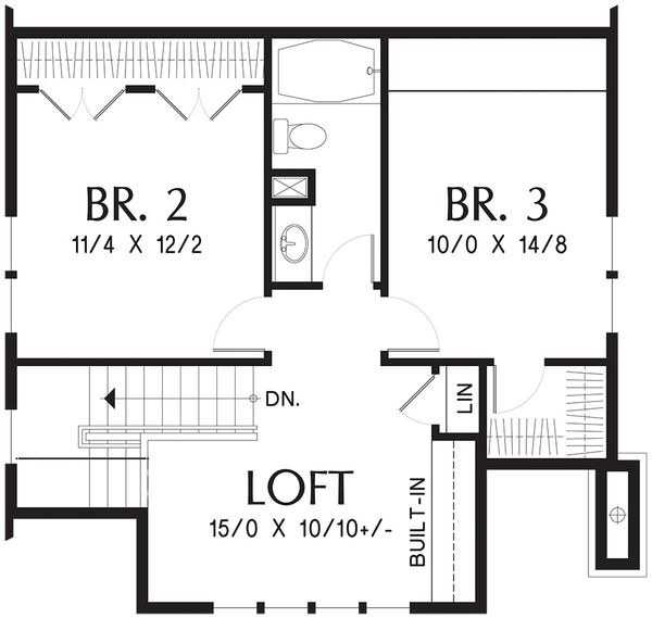 Bungalow Floor Plan - Upper Floor Plan Plan #48-646