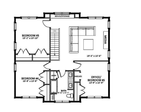 Craftsman Floor Plan - Upper Floor Plan Plan #898-46