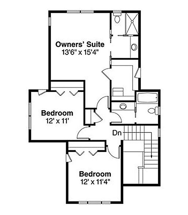 Craftsman Floor Plan - Upper Floor Plan Plan #124-844