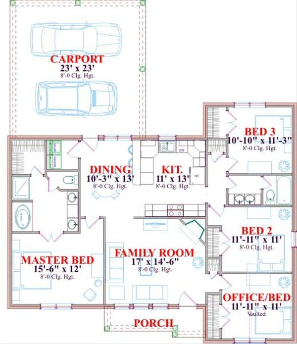 Traditional Floor Plan - Main Floor Plan Plan #63-172