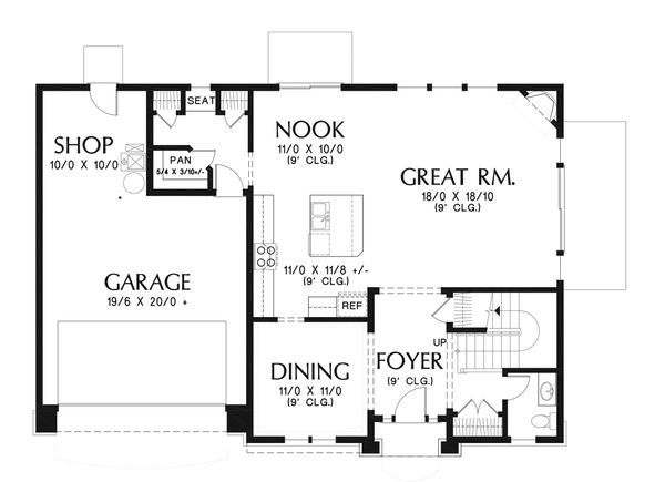 Home Plan - Craftsman Floor Plan - Main Floor Plan #48-932