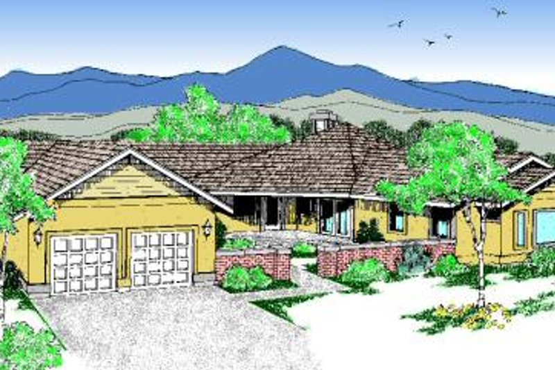 Traditional Style House Plan - 3 Beds 3 Baths 2192 Sq/Ft Plan #60-197 Exterior - Front Elevation