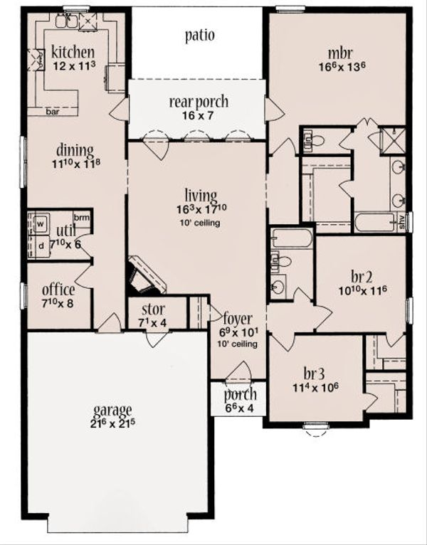 Traditional Floor Plan - Main Floor Plan Plan #36-480