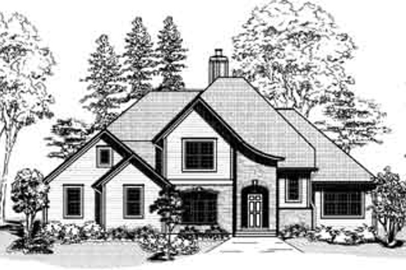 European Style House Plan - 4 Beds 3 Baths 2796 Sq/Ft Plan #9-103 Exterior - Front Elevation