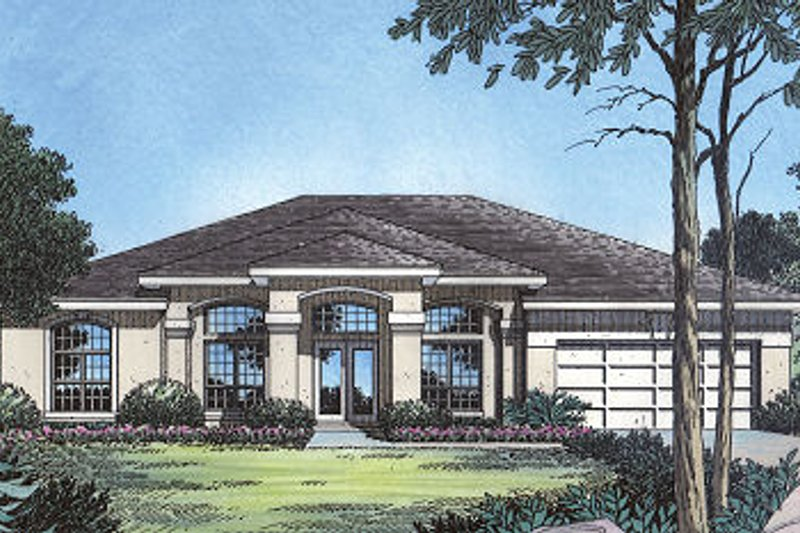 Mediterranean Style House Plan - 4 Beds 3 Baths 2089 Sq/Ft Plan #417-191 Exterior - Front Elevation