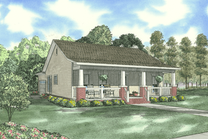 Cabin Exterior - Front Elevation Plan #17-2216