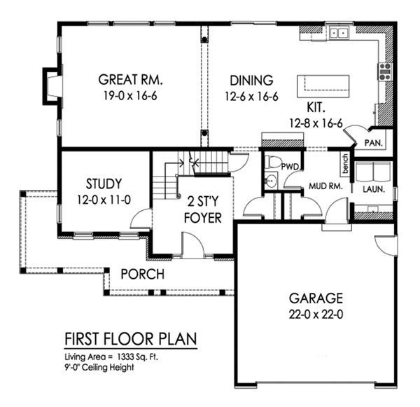 Country Floor Plan - Main Floor Plan Plan #1010-246